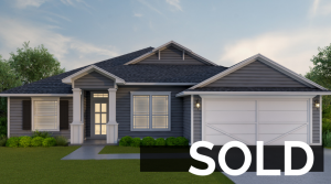 Blue home with garage by Collin's Builders that is Sold